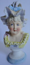 Miniature c.1880's Antique German Bisque Bust Lady Women Bonnet Feathers Pastels