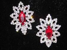 RED RUBY & CLEAR RHINESTONE CRYSTAL CLIP SILVER  BRIDAL EARRINGS