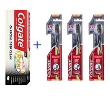 1 X Colgate Charcoal Toothpaste 140g + 3 X Colgate Slim Soft Charcoal Toothbrush