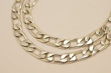 Long Taxco Mexican 925 Sterling Silver Figaro Chain Necklace. 108g, 65cm, 26""