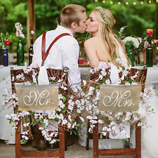 Mr. & Mrs. Linen Chair Banner Set Wedding Chair Decoration  Photography Sign