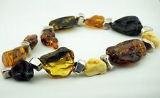 AMBER NECKLACE ANTIQUE BUTTERSCOTCH BALTIC AMBER MASSIVE 270 g STERLING SILVER