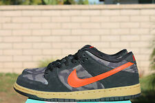 NIKE DUNK LOW PREMIUM SB SZ 9 BLACK TEAM ORANGE ROUGH GREEN 313170 083