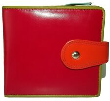 NEW ITALIA LEATHER WOMEN'S CREDIT CARD WALLET WITH CHANGE POCKET RED/MULTI