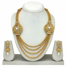 South Indian Traditional Ethnic Goldplated Temple Jewelery Necklace Earrings Set