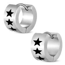 2er Set Paar Klapp Creolen Stern Sterne Stars Star Ohrringe Edelstahl Silber