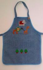 World Market Toddler Childs Apron Baking Crayon Craft Zoo Animal Decals on Denim