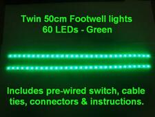 Twin 50cm Green LED interior footwell lights waterproof & flexible exterior neon