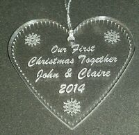Personalised engraved acrylic first Christmas heart tree decoration bauble
