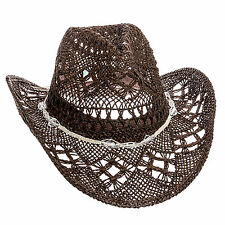 Dorfman Pacific Womens Brown Straw Country Western Cowgirl Hat w/ Glass Beads