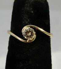 Vintage 18 Ct Gold Twist Solitaire 0.3 Champagne Diamond Ring size M