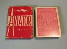 Vintage Aviator Airplane Pinochle Playing Cards Deck Red Backs Biplane Box