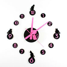 DIY Cat Wall Clock Cute Kittens Stickers  Home Decor Watch Bedroom for Kids