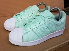 ADIDAS SUPERSTAR TRAINERS SIZE BIG 4.5 UK MORE A SIZE 5 MINT GREEN REPTILE SKIN