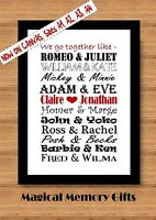 Personalised famous couples print gift valentines day, wedding , anniversary A4
