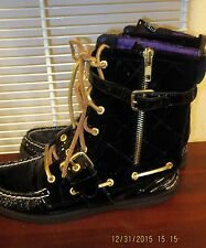 Sperry Top sider Patent Leather Quilted Black Purple Gold Thread  Boots  6 M