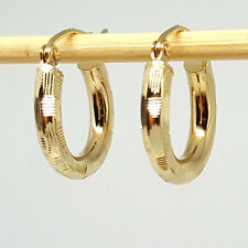 14K solid yellow gold 15mm hallow light weight diamond cut Hoop earrings 1.2gram