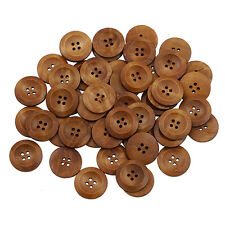 50 X Exquisite Wooden 4 Holes Round Sewing Buttons DIY Craft Scrapbooking 25mm