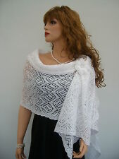 Womens Hand Knitted Kid Mohair Pure White Shawl Wrap, Wedding Bridal Accessories