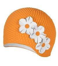 Vintage Style Ladies Orange Bubble Floral Swim Cap Beige Flowers Adult New