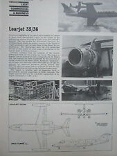 9/74 ARTICLE 3 PAGES LEARJET 35/36 EXECUTIVE AIRCRAFT CUTAWAY ECORCHE
