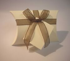 50 IVORY PILLOW WEDDING FAVOUR BOX'S+FREE GIFT TAGS