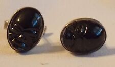 Great Vintage Mexican Sterling Silver Cuff Links With Carved Onyx Faces