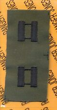 US ARMY Captain CPT OD Green & Black rank patch set