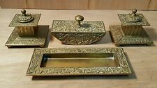 Vintage CHINESE 4-Piece DESK SET ~ Pen Tray - Ink Blotter - 2 Inkwell
