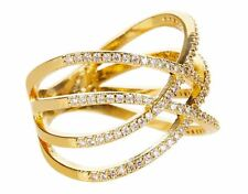 NEW NWT MONSOON ACCESSORIZE ZARA SIMON GOLD DIAMANTE CRISS CROSS RING M MEDIUM