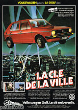 PUBLICITE ADVERTISING 055  1982  VOLKSWAGEN    GOLF  la clé de la Ville