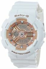 Casio Women's BA-110-7A1CR Baby-G Rose Gold Analog-Digital Watch with White R...