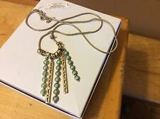 $49 Lucky Brand Gold-Tone Turquoise Charm Necklace LB 12