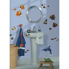 SEA LIFE UNDER THE SEA wall stickers 24 decals Bathroom DOLPHIN FISH scrapbook