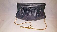 Oscar De La Renta Black Leather Chain Strap Small Clutch Shoulder Evening Bag