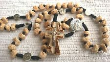 St. Benedict ROSARY HANDMADE OF ROCK STONE UNIQUE RARE rosaries from Medjugorje