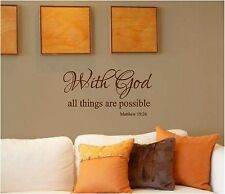 With God All Things Are Possible Wall Sticker Wall Decor Vinyl Decal lettering