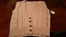 NEW! Lord and Taylor 4 Button Women's Sleeveless Sweater-Size L-Dusty Rose Color