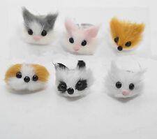New 6PCS Faux Rabbit Fur Furry Cute Panda/Dog/Fox Rings Animal Jewelry Rings