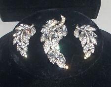 Stunning Vintage Bellini Rhinestone & Baguette Brooch & Clip Earrings