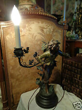 ANTIQUE SIGNED FRENCH MOREAU BOY BASKET GRAPES FIGURAL BRONZE FINISH METAL LAMP