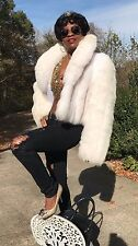 New NoWT Dicker Norwegian White Cream Shadow fox Fur Coat jacket stroller L-18