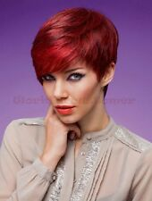 Hot~Fashion Women Short Straight Heat Resistant Capless Cap Red Wigs+Free Gifts