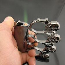 Cigarette Lighter Silver Skull Refillable Butane Gas Cigar Torch Lighter Gift