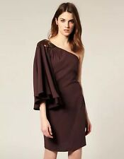 Oasis One Shoulder Angel Sleeve Brown Dress Size UK 14