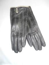 Ladies Fownes Black & Ivory Stitch Genuine  Leather Driving Gloves Small