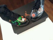 Men's Air Jordan 1 Retro Mid Custom Hand Painted Size10 Skeleton Dunkin Bball