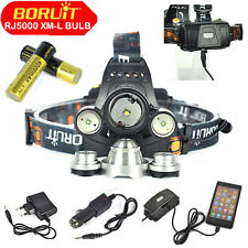 RJ5000 BORUiT 13000LM Headlamp 3*XM-L T6+R2 Headlight Torch+18650+AC/CAR Charger