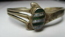 STERLING SILVER VINTAGE ESTATE TAXCO GREEN BLUE STONE ABSTRACT CUFF BRACELET