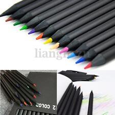 12 Couleurs Crayon Peinture Dessin Esquisse Croquis Artiste Pencil en Bois Noir